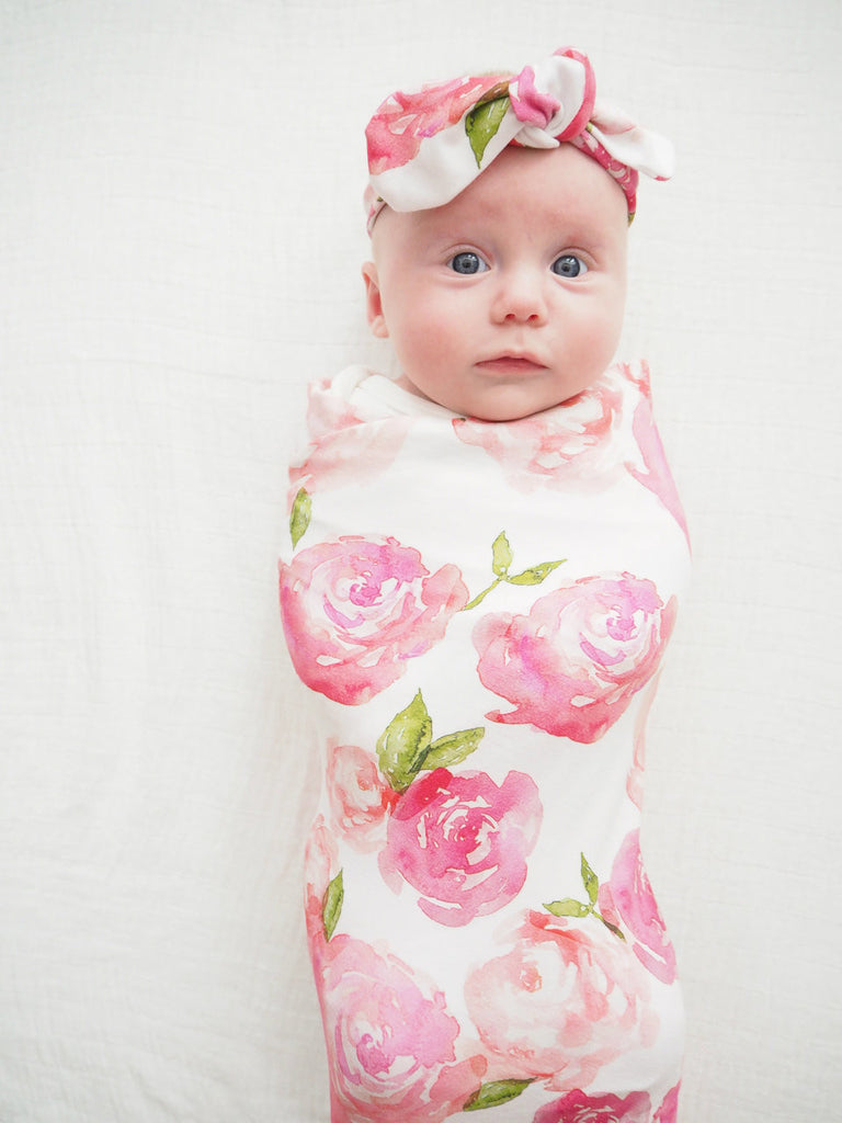 Sunset Rose Swaddle with Headband