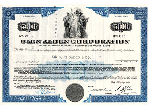 Certificato Azionario - Glen Alden Corporation RV27290