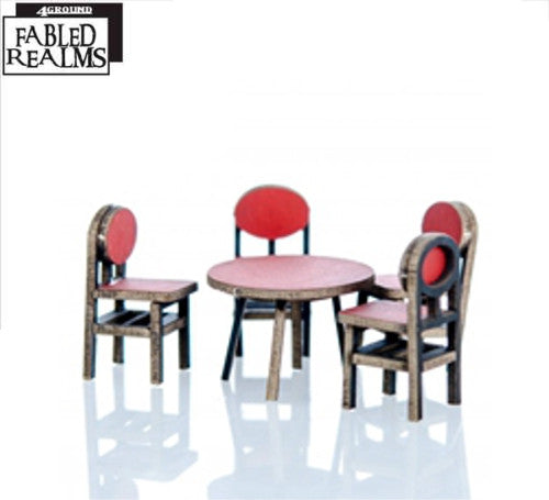 4GROUND - Red table and 4 chairs - 28mm - 28S-FAB-084