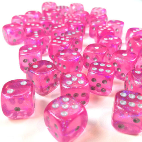 Chessex - Borealis Pink w/silver - dice block (12mm) - 27804