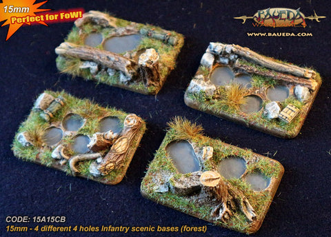 Baueda - 4 Different 4 holes infantry scenic bases (forest) - 15A15CB