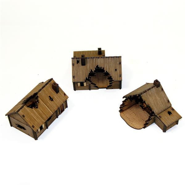 4GROUND - Log damaged timber village (3 houses) - 15mm - 15S-EAW-111D