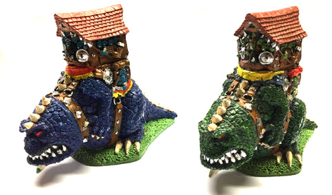 Cold one Riders with Goblin Tower for Warmaster - 6mm - PAINTED