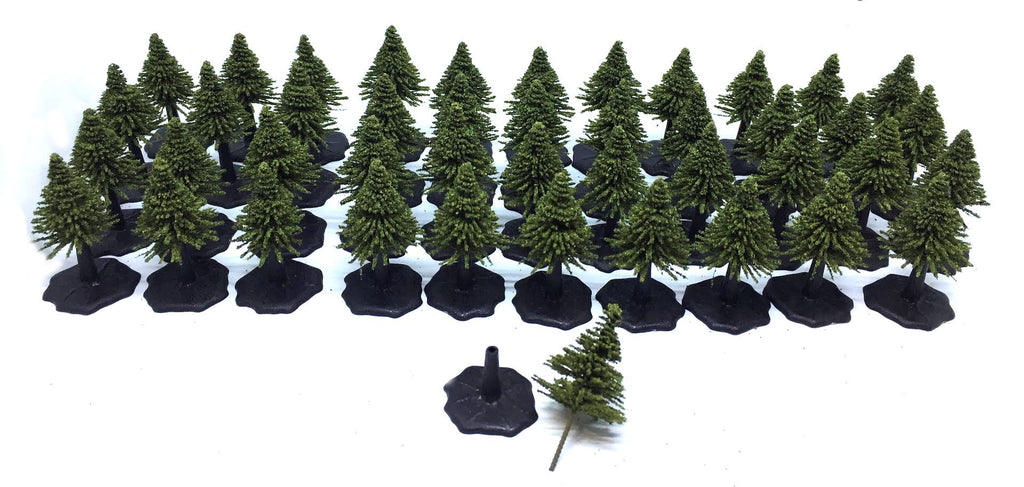 K&M - Fir Trees Midgreen x 44 with bases (25mm) - F25