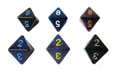 Chessex - 8-sided dice numbered SPECKLED (16mm) x 6