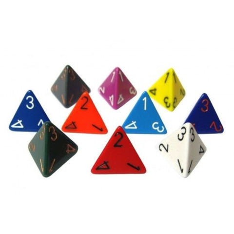Chessex - 4-sided dice OPAQUE (16mm) X 10