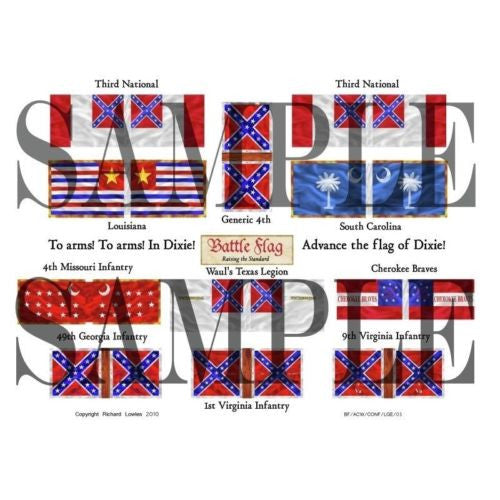 Battle Flag - Third National Flags  (American Civil War) - 20mm