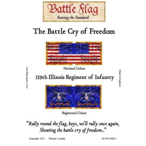 Battle Flag - 119th Illinois Regiment of Infantry (American Civil War) - 28mm
