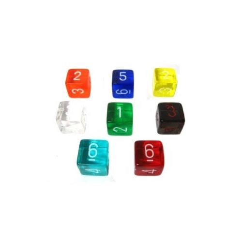 Chessex - 6-sided dice numbered TRANSLUCENT with a tip angle (16mm) x 8