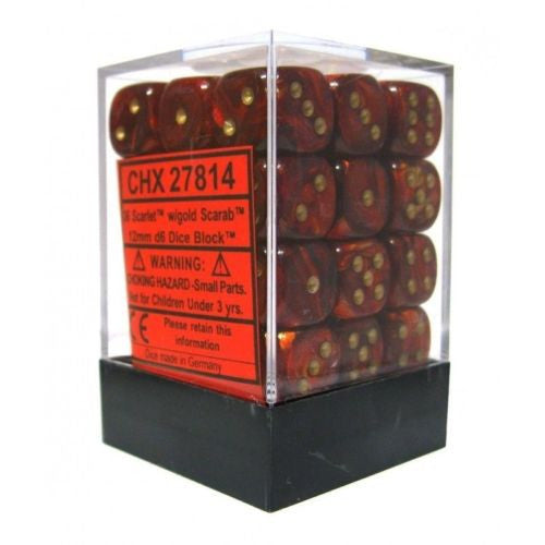 Chessex - Scarab Scarlet w/gold - dice block (12mm) - 27814