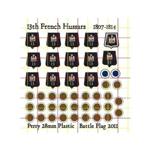 Battle Flag - 13th Hussars Sabretaches and Saddle Roll Numbers (Napoleonic) - 28