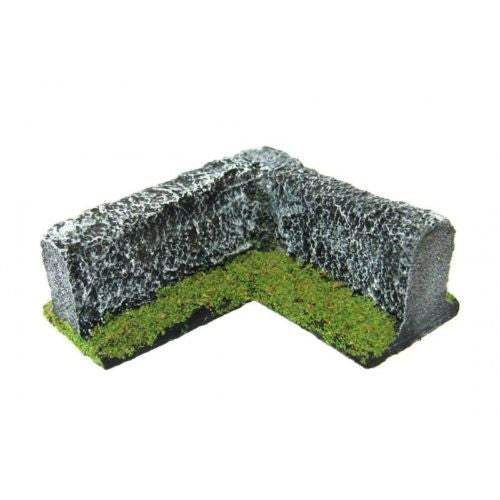 Scenery - Wargame - low wall (corner) Type 2 - 28mm - ES39 USED