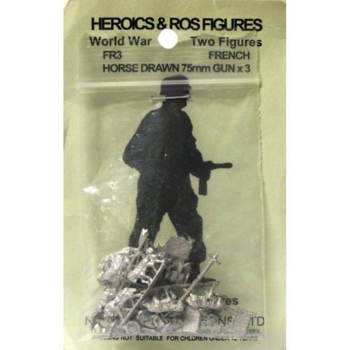 Heroics & Ros - French Horse drawn 75mm gun x 3 (WWII) - 1:300
