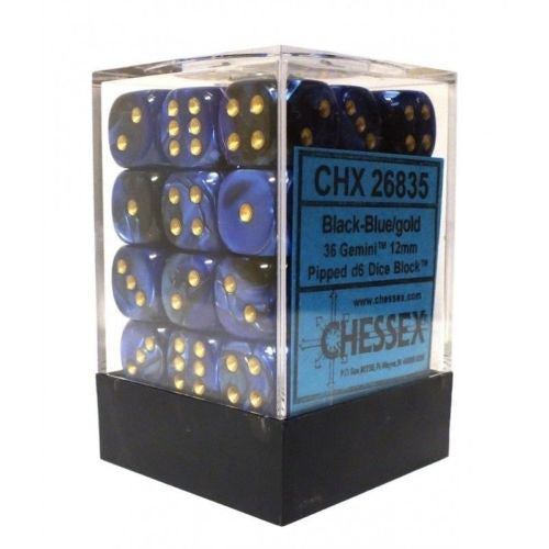 Chessex -Black-Blue w/gold - Dice block Gemini  (12mm)