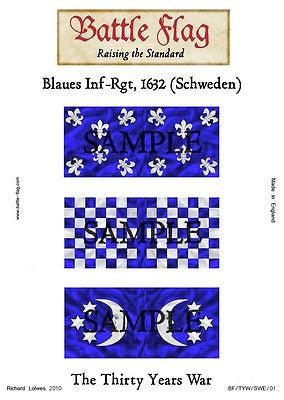 Battle Flag - Blaues Inf-Rgt 1632 (Thirty Years War) - 28mm