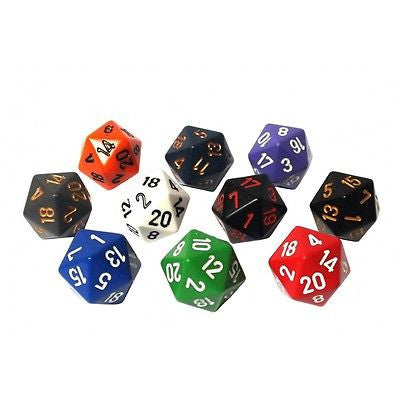 Chessex - 20-sided dice OPAQUE (16mm) x 10