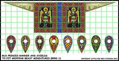 Little big men - Rus princes Banner and Shields (RPBS1) - 28mm