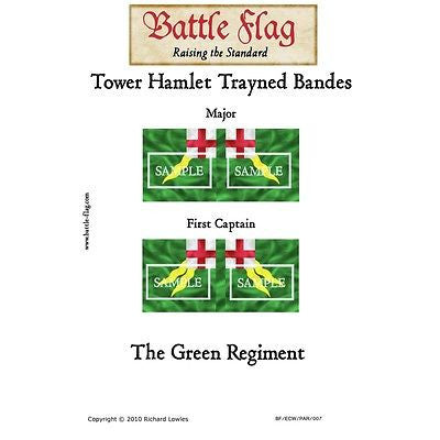 Battle Flag - Tower Hamlet Trayned Bande Green Regiment B (English Civil war) - 28mm
