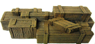 Scenery - Wargame - ES63 - Crates & Barrels - UNPAINTED - 28mm USED