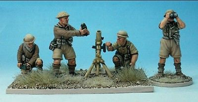 Perry WW9 - British 3inch mortar and four crew - 28mm