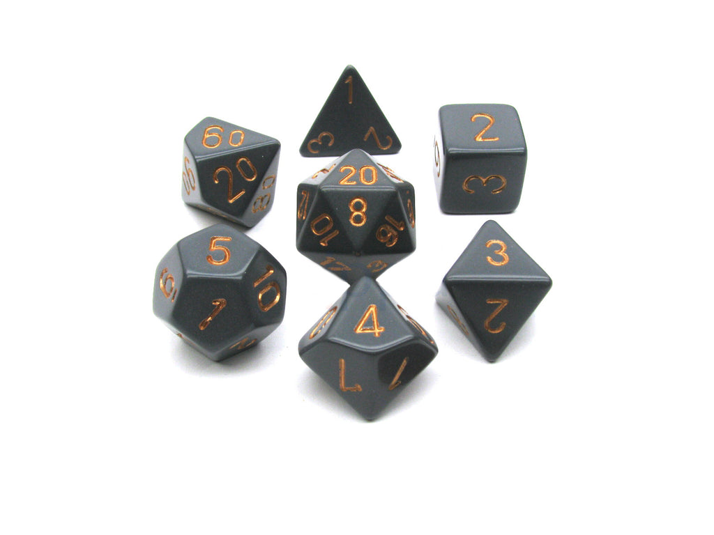 Chessex - Dark Grey w/copper - Polyhedral 7 die set