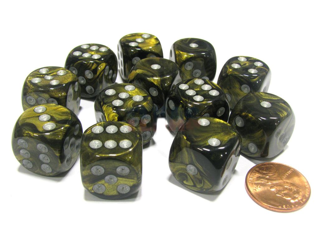 Chessex - Leaf Black Gold w/silver - Dice Block (16mm)