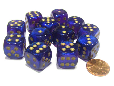 Chessex -  Borealis Royal Purple w/gold - Dice Block (16mm)