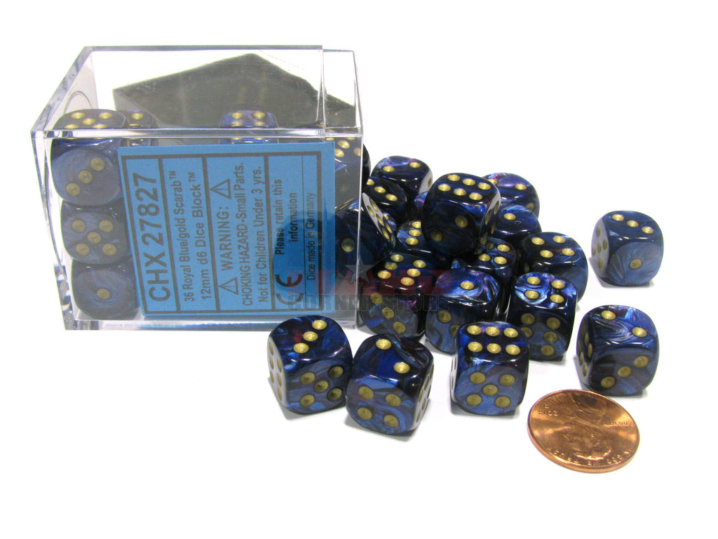 Chessex - Scarab - Royal Blue w/gold dice block (12mm) - 27827