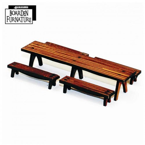 4GROUND - Fantasy, Dark Age or Medieval Game: Long Trestle Table X 1 & Benches X 4 (Light Wood) - 28mm