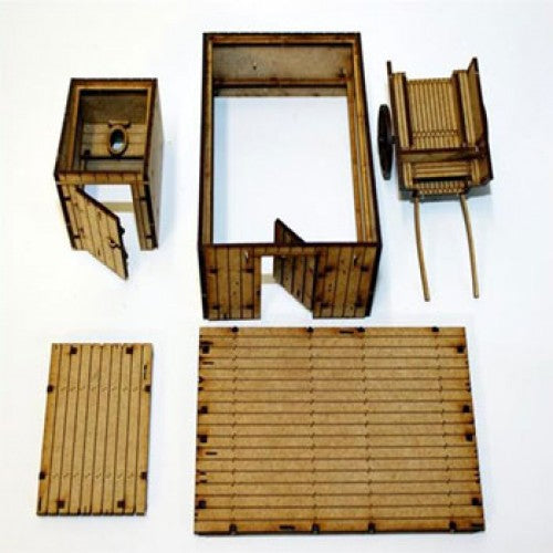 4GROUND - Timber Outhouse, WC & Cart - 28mm - 28R-TAO-S1