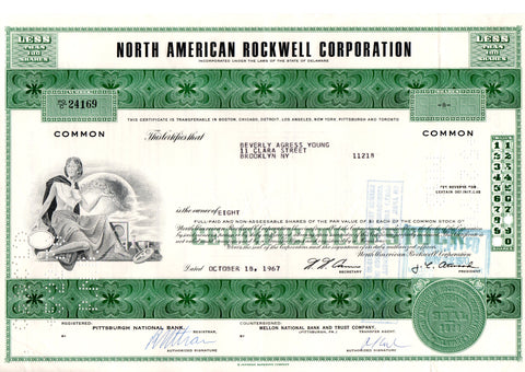 Certificato Azionario - North American Rockwell corporation 24169