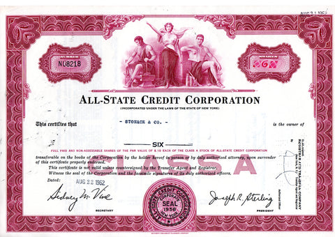 Certificato Azionario - All-State credit corporation NU8218