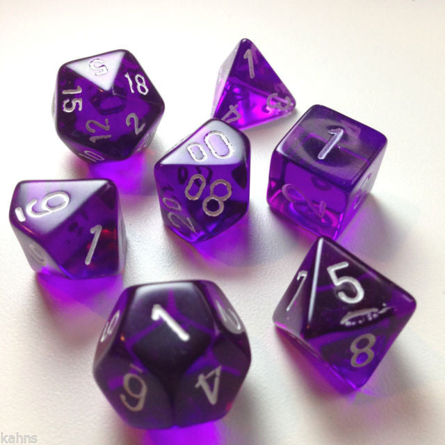 Chessex - Purple w/white - Polyhedral 7 die set - 23007