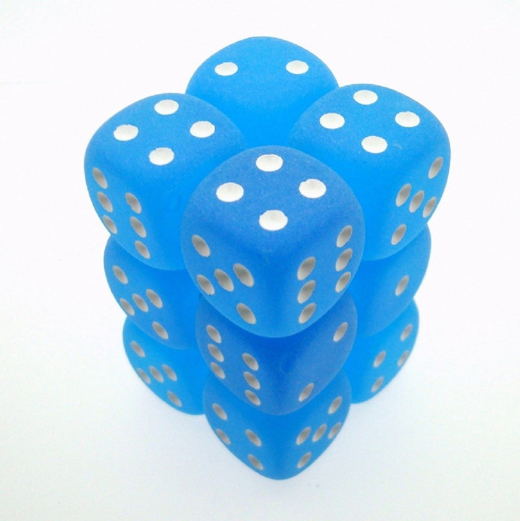 Chessex - Frosted Caribbean Blue w/white - Dice Block (16mm)