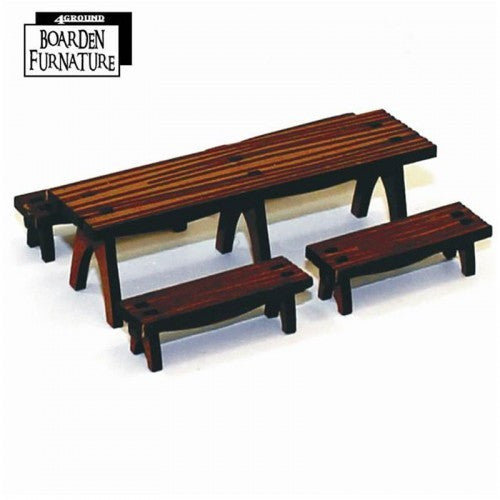 4GROUND - Fantasy, Dark Age or Medieval Game: Trestle Table X 1 & Benches X 4 (Medium Wood) - 28mm