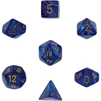 Chessex - Lustrous Purple w/gold - Polyhedral 7 die set