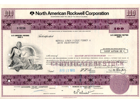 Certificato Azionario - North American Rockwell corporation 9236