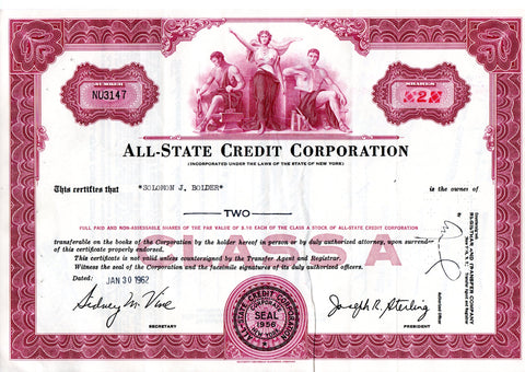 Certificato Azionario - All-State credit corporation NU3147
