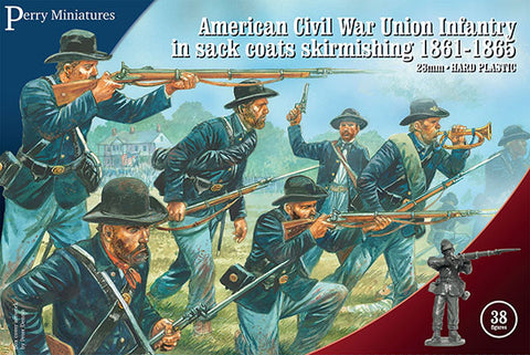 Perry - American civil war union infantry in sack coats skirmishing 1861-65 - 28mm