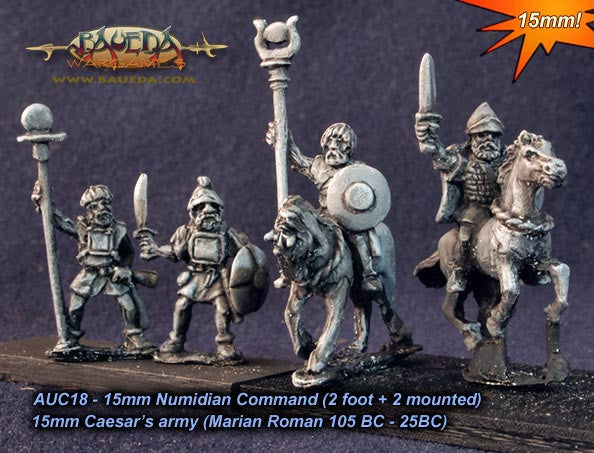 Baueda - Numidian command (2 foot + 2 mounted) - 15mm - AUC18