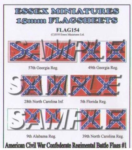 Essex - American Civil War: Confederate regimental battle flags 1 - 15mm
