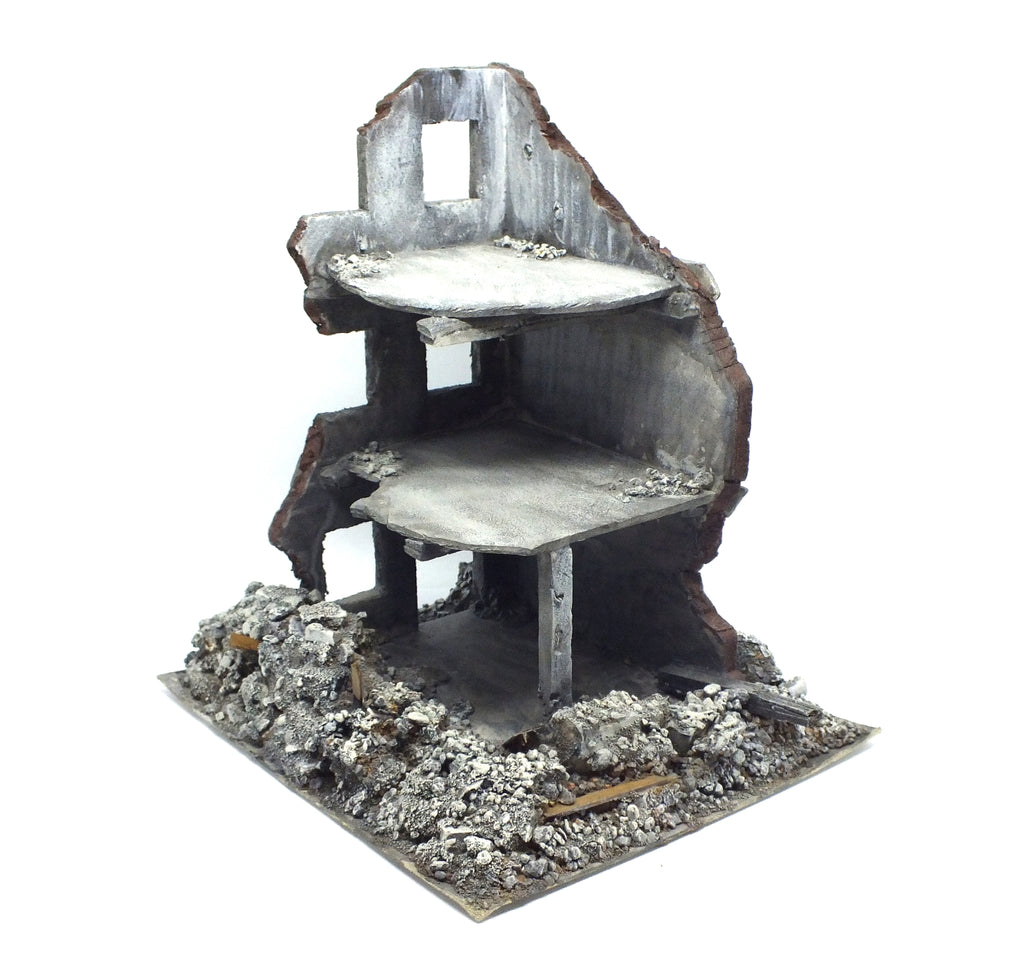 Bombed building in Polystyrene painted - 28mm