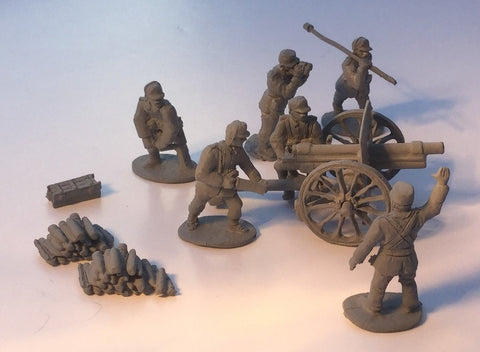 EWM - Norvegian Ehrhardt 75mm Field gun, 6 crew, piles of shells, tools & accessories (WWII)