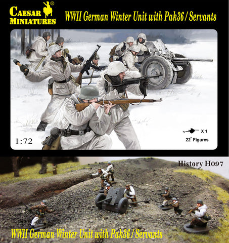 Caesar Miniatures - H097 - WWII German winter unit with Pak36/servants - 1:72