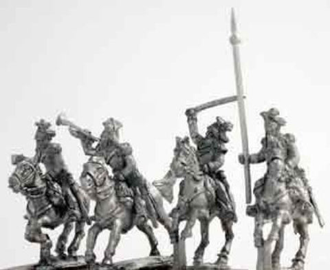 Mirliton - Austrian Ulans command group, charging - 15mm