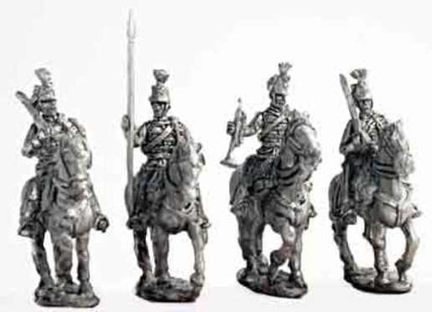 Mirliton - Austrian Hussar command group walking (italian war of independence) - 15mm