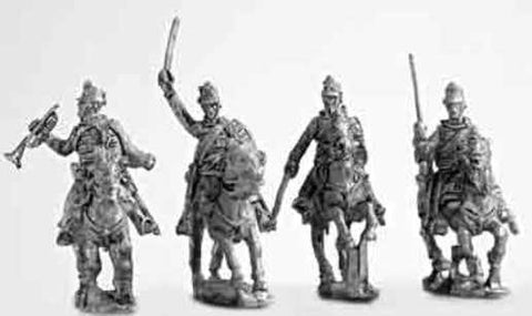 Mirliton - Austrians Hussar command group, charging - 15mm