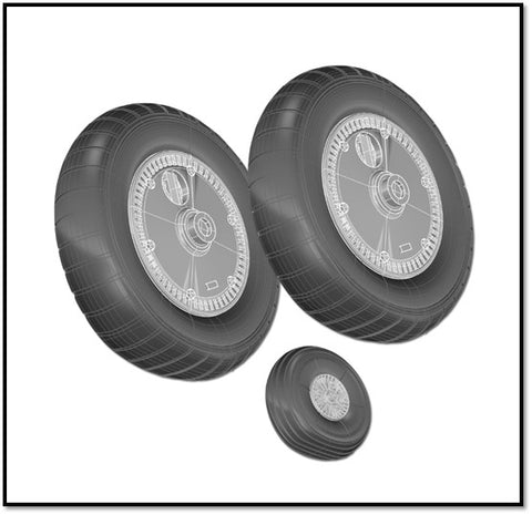 True Details P48222 - Messerschmitt Bf-109G WHEEL SET RIBBED THREAD WHEEL SET - 1:48