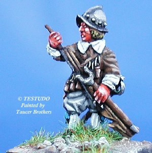 "Testudo - Musketeers loading muskets, ""Cabasset"" morion - 15mm"