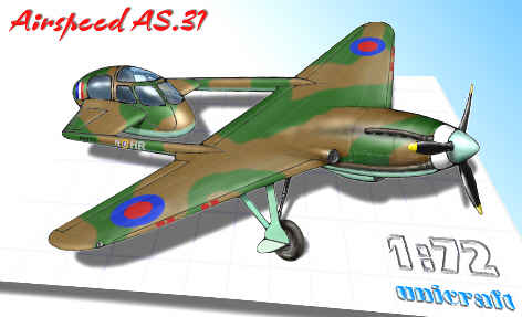 Unicraft 72133 - Airspeed AS.31 - Totally Weird British 1935 Fighter Project - 1:72